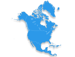 Karte zum Paketversand nach Nordamerika (USA, Kanada)